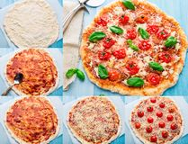 Pizza with cherry tomatoes and basil. Step by step Royalty Free Stock Photos