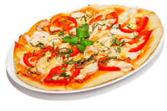 Pizza with chicken Stock Image