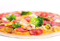 Pizza with chicken and broccoli Royalty Free Stock Image