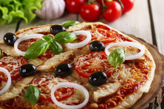 Pizza with chicken Royalty Free Stock Photos