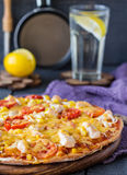 Pizza with chicken, corn, tomatoes and double cheese Royalty Free Stock Images