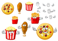 Pizza, chicken leg, french fries and popcorn Royalty Free Stock Images