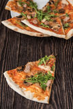 Pizza with chicken and mushrooms Stock Images