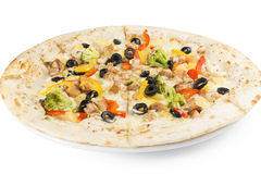 Pizza with chicken and peppers. Broccoli and olives Stock Images