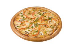 pizza with chicken and pineapple mozzarella Royalty Free Stock Images