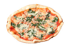 Pizza with Chicken and Spinach Royalty Free Stock Images