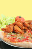 Pizza and chicken wings Royalty Free Stock Photography