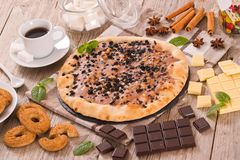 Pizza chocolate cookie. stock images