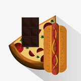 Pizza chocolate and hot dog design Royalty Free Stock Photography