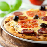 Pizza with Chorizo Salami Stock Photography