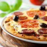 Pizza with Chorizo Salami stock photography