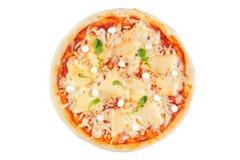 Pizza clasificada queso en un fondo blanco Visión desde arriba foto de archivo libre de regalías