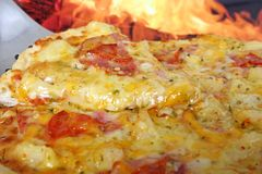 Pizza by clay oven, closeup with copy space Stock Photography