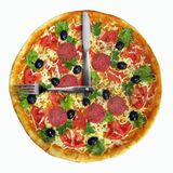 Pizza clock. There is a pizza clock. A knife and a fork instead the clock hands. White background Royalty Free Stock Photography