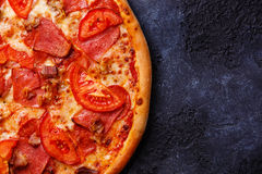 Pizza close up copy space Royalty Free Stock Images