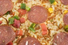 Pizza closeup. Closeup on pizza Royalty Free Stock Images