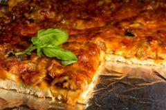 Pizza closeup. Homemade pizza closeup on an oven-pan Royalty Free Stock Photos