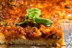 Pizza closeup. Homemade pizza closeup on an oven-pan Stock Photos