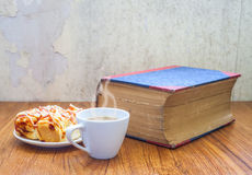 Pizza coffee and book royalty free stock photography