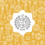 Pizza and coffee seamless pattern and emblem. Royalty Free Stock Image