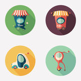 Pizza and coffee shops with retro transport flat round icons. Stock Image