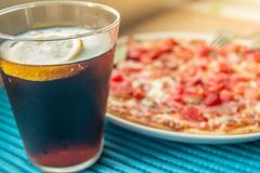 Pizza and cola stock photography