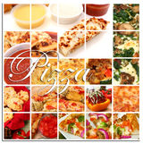 Pizza Collage. Various pizza and pizza ingredient foods together in a collage. Pizza, pizza sticks, pizza rolls, toppings, dip, pizza break, pizza boats royalty free stock photography