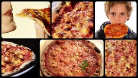Pizza, collage stock video