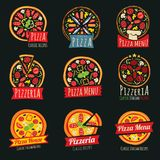 Pizza color labels isolated. Italian restaurant vector badges and emblems Stock Images