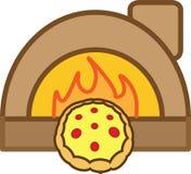 Pizza colorata dell'icona con i pomodori, il formaggio ed il forno illustrazione vettoriale