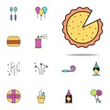 pizza colored icon. birthday icons universal set for web and mobile stock illustration