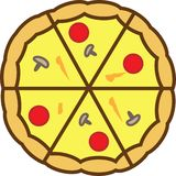 The pizza colored icon is completely sliced into 6 pieces with tomatoes and cheese. For websites or applications vector illustration