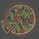 Pizza colorida italiana no fundo escuro, ilustração do vetor ilustração royalty free