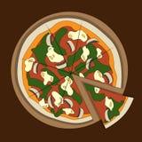 Pizza colorida italiana no fundo escuro, ilustração do vetor ilustração stock