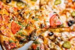 Pizza com cogumelos e vegetais, pelo corte às partes em uma tabela do metal foco seletivo no close-up de enchimento Imagem de Stock Royalty Free