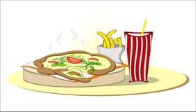 Pizza com fritadas e cola do francês Fotografia de Stock Royalty Free