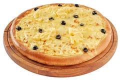 Pizza com galinha e abacaxi Imagem de Stock Royalty Free