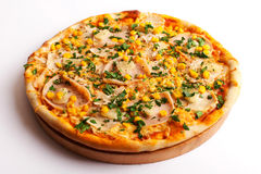 Pizza com presunto e milho Imagem de Stock Royalty Free