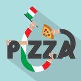 Pizza com projeto da tipografia das mãos Imagem de Stock Royalty Free