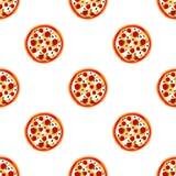 Pizza com teste padrão do queijo e dos tomates Foto de Stock Royalty Free