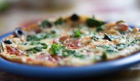Pizza com vegetais e azeitona Fotos de Stock