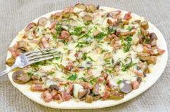 Pizza, comida, seta, queso, bocado, gastrónomo, pasteles Imágenes de archivo libres de regalías