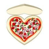 Pizza comme symbole de coeur Dans une boîte de papier Illustration de vecteur illustration stock