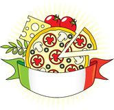 Pizza with the components and the flag of Italy. Stock Photography