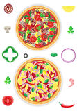 Pizza and components  illustration Royalty Free Stock Images