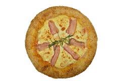 Pizza con bacon e formaggio Immagini Stock Libere da Diritti