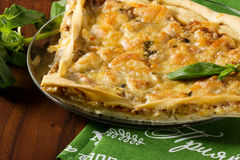 Pizza con carne Immagine Stock