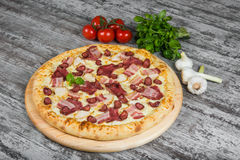 Pizza con carne affumicata, con i rosmarini e le spezie su un fondo di legno leggero fotografie stock libere da diritti