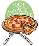 Pizza con el salami Fotografía de archivo libre de regalías