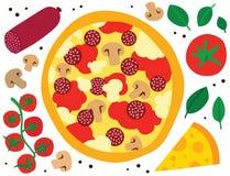 Pizza con el salami y las setas Fotos de archivo